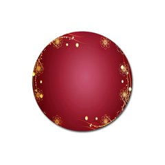 Red Background With A Pattern Magnet 3  (round) by Amaryn4rt