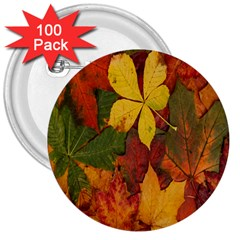 Colorful Autumn Leaves Leaf Background 3  Buttons (100 Pack)