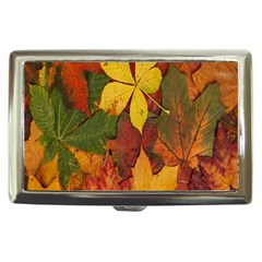 Colorful Autumn Leaves Leaf Background Cigarette Money Cases by Amaryn4rt