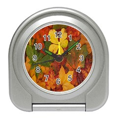 Colorful Autumn Leaves Leaf Background Travel Alarm Clocks by Amaryn4rt