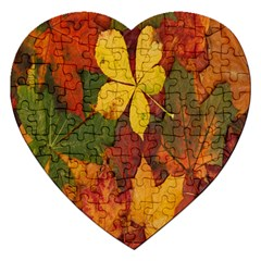 Colorful Autumn Leaves Leaf Background Jigsaw Puzzle (heart) by Amaryn4rt