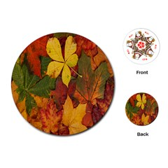 Colorful Autumn Leaves Leaf Background Playing Cards (round)  by Amaryn4rt