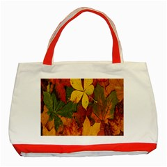 Colorful Autumn Leaves Leaf Background Classic Tote Bag (red) by Amaryn4rt
