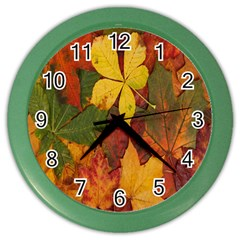 Colorful Autumn Leaves Leaf Background Color Wall Clocks by Amaryn4rt