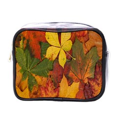 Colorful Autumn Leaves Leaf Background Mini Toiletries Bags by Amaryn4rt