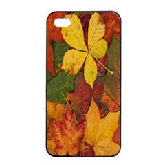 Colorful Autumn Leaves Leaf Background Apple Iphone 4/4s Seamless Case (black) by Amaryn4rt