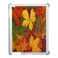 Colorful Autumn Leaves Leaf Background Apple Ipad 3/4 Case (white) by Amaryn4rt
