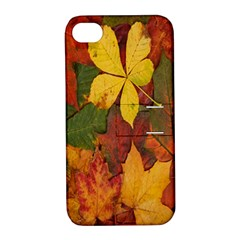 Colorful Autumn Leaves Leaf Background Apple Iphone 4/4s Hardshell Case With Stand by Amaryn4rt