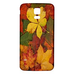 Colorful Autumn Leaves Leaf Background Samsung Galaxy S5 Back Case (white) by Amaryn4rt