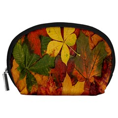 Colorful Autumn Leaves Leaf Background Accessory Pouches (large)  by Amaryn4rt