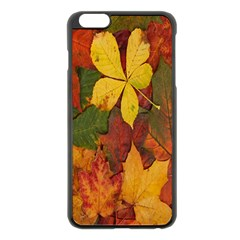 Colorful Autumn Leaves Leaf Background Apple Iphone 6 Plus/6s Plus Black Enamel Case by Amaryn4rt