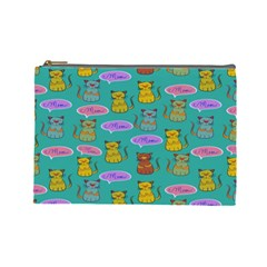 Meow Cat Pattern Cosmetic Bag (large)  by Amaryn4rt