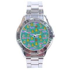 Meow Cat Pattern Stainless Steel Analogue Watch by Amaryn4rt