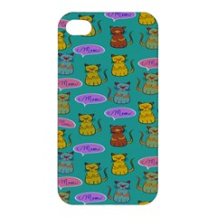 Meow Cat Pattern Apple Iphone 4/4s Premium Hardshell Case by Amaryn4rt