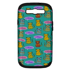 Meow Cat Pattern Samsung Galaxy S Iii Hardshell Case (pc+silicone) by Amaryn4rt