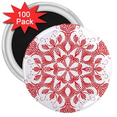 Red Pattern Filigree Snowflake On White 3  Magnets (100 Pack) by Amaryn4rt