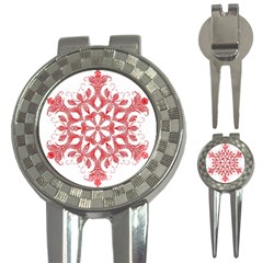 Red Pattern Filigree Snowflake On White 3 In 1 Golf Divots by Amaryn4rt