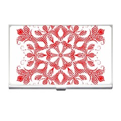 Red Pattern Filigree Snowflake On White Business Card Holders by Amaryn4rt