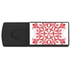 Red Pattern Filigree Snowflake On White Usb Flash Drive Rectangular (4 Gb) by Amaryn4rt