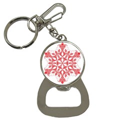 Red Pattern Filigree Snowflake On White Button Necklaces by Amaryn4rt