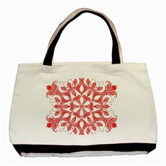 Red Pattern Filigree Snowflake On White Basic Tote Bag by Amaryn4rt