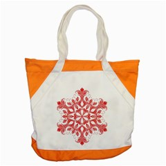 Red Pattern Filigree Snowflake On White Accent Tote Bag by Amaryn4rt