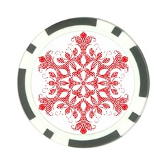 Red Pattern Filigree Snowflake On White Poker Chip Card Guard by Amaryn4rt