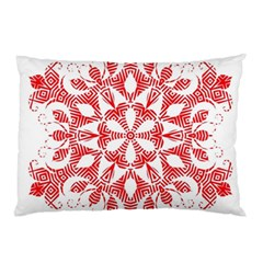 Red Pattern Filigree Snowflake On White Pillow Case by Amaryn4rt