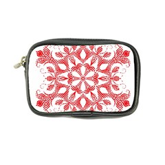 Red Pattern Filigree Snowflake On White Coin Purse by Amaryn4rt