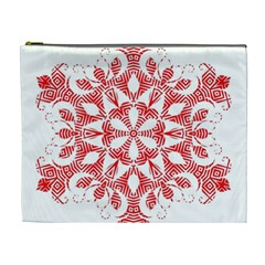 Red Pattern Filigree Snowflake On White Cosmetic Bag (xl)
