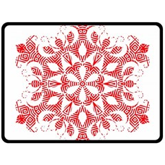Red Pattern Filigree Snowflake On White Fleece Blanket (large)  by Amaryn4rt