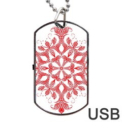 Red Pattern Filigree Snowflake On White Dog Tag Usb Flash (two Sides) by Amaryn4rt