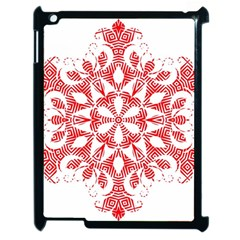 Red Pattern Filigree Snowflake On White Apple Ipad 2 Case (black) by Amaryn4rt