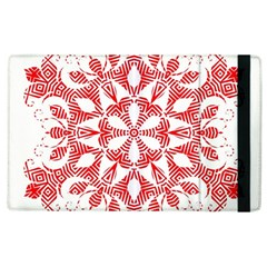 Red Pattern Filigree Snowflake On White Apple Ipad 2 Flip Case by Amaryn4rt