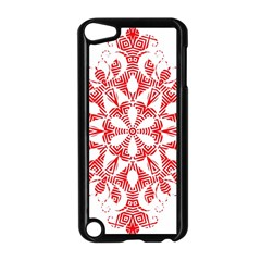 Red Pattern Filigree Snowflake On White Apple Ipod Touch 5 Case (black) by Amaryn4rt