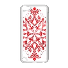 Red Pattern Filigree Snowflake On White Apple Ipod Touch 5 Case (white) by Amaryn4rt