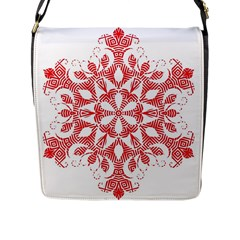 Red Pattern Filigree Snowflake On White Flap Messenger Bag (l)  by Amaryn4rt