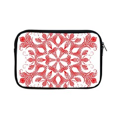 Red Pattern Filigree Snowflake On White Apple Ipad Mini Zipper Cases by Amaryn4rt