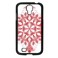 Red Pattern Filigree Snowflake On White Samsung Galaxy S4 I9500/ I9505 Case (black) by Amaryn4rt