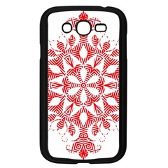Red Pattern Filigree Snowflake On White Samsung Galaxy Grand Duos I9082 Case (black) by Amaryn4rt
