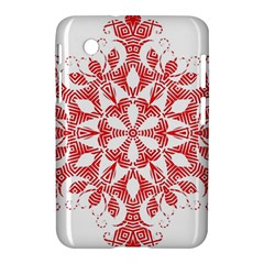 Red Pattern Filigree Snowflake On White Samsung Galaxy Tab 2 (7 ) P3100 Hardshell Case  by Amaryn4rt