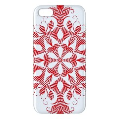 Red Pattern Filigree Snowflake On White Iphone 5s/ Se Premium Hardshell Case by Amaryn4rt