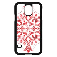 Red Pattern Filigree Snowflake On White Samsung Galaxy S5 Case (black) by Amaryn4rt