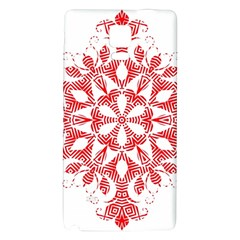 Red Pattern Filigree Snowflake On White Galaxy Note 4 Back Case