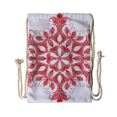Red Pattern Filigree Snowflake On White Drawstring Bag (small) by Amaryn4rt