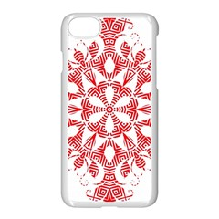 Red Pattern Filigree Snowflake On White Apple Iphone 7 Seamless Case (white) by Amaryn4rt