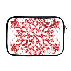 Red Pattern Filigree Snowflake On White Apple Macbook Pro 17  Zipper Case by Amaryn4rt