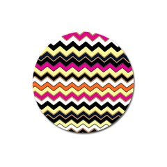 Colorful Chevron Pattern Stripes Magnet 3  (round) by Amaryn4rt
