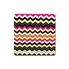 Colorful Chevron Pattern Stripes Square Magnet by Amaryn4rt
