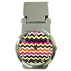 Colorful Chevron Pattern Stripes Money Clip Watches by Amaryn4rt